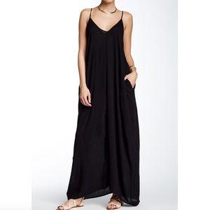 Love Stitch Black Gauze Maxi Dress